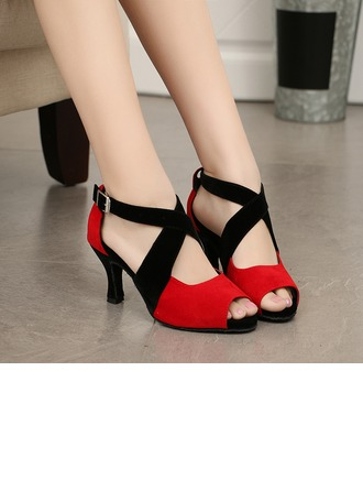 Women's Suede Heels Sandals Latin Ballroom With Ankle Strap Dance Shoes