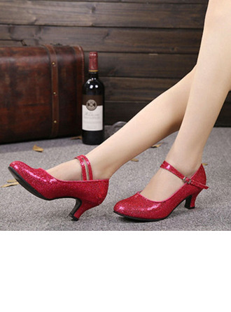 Women's Sparkling Glitter Heels Pumps Latin Jazz Practice Party Tango With Ankle Strap Dance Shoes