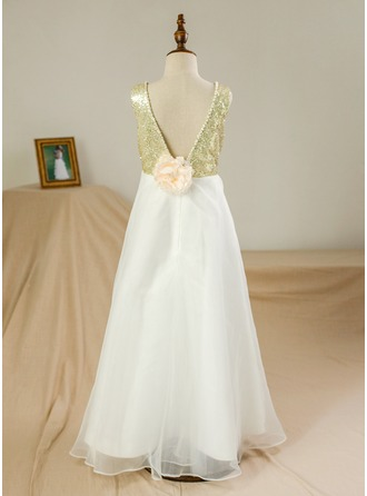 A-Line/Princess Floor-length Flower Girl Dress - Satin/Tulle/Sequined Sleeveless Scoop Neck With Beading/Flower(s)/V Back