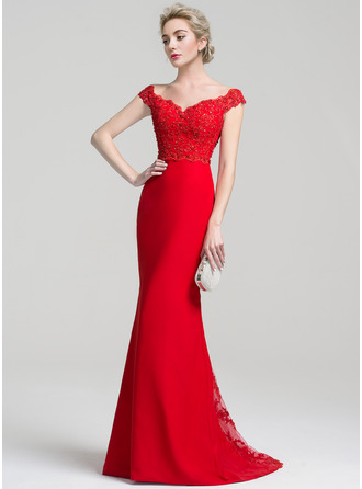 Trumpet/Mermaid Off-the-Shoulder Sweep Train Chiffon Lace Evening Dress With Beading Sequins