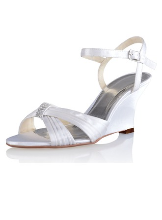 Women's Silk Like Satin Wedge Heel Sandals Slingbacks Wedges With Buckle Rhinestone