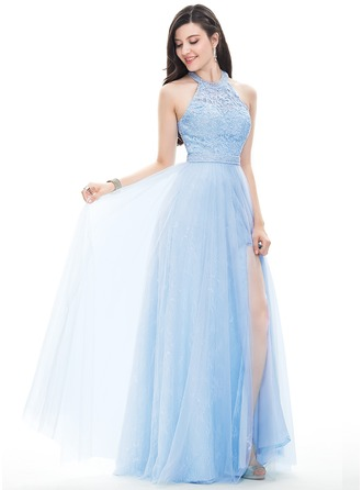 A-Line/Princess Halter Floor-Length Tulle Prom Dress With Beading Sequins Split Front