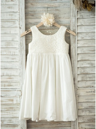 A-Line/Princess Knee-length Flower Girl Dress - Lace/Cotton Sleeveless Scoop Neck