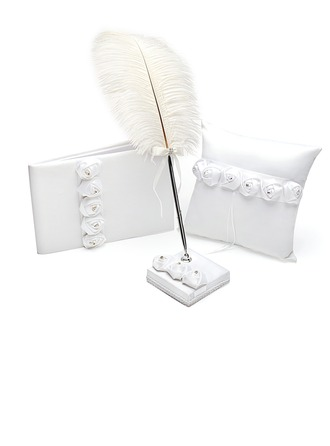 White Rose Collection Set in Satin With Rhinestones