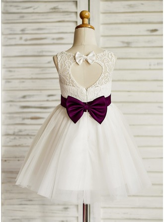 A-Line/Princess Knee-length Flower Girl Dress - Tulle/Lace Sleeveless Jewel With Sash/Bow(s)/Back Hole