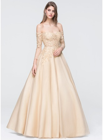 Ball-Gown Off-the-Shoulder Floor-Length Organza Prom Dress With Beading Sequins