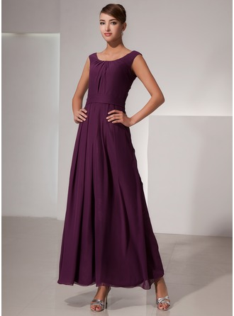 A-Line/Princess Scoop Neck Ankle-Length Chiffon Bridesmaid Dress With Ruffle
