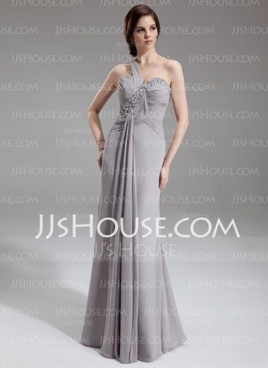 Trumpet/Mermaid One-Shoulder Floor-Length Chiffon Mother of the Bride Dress With Ruffle Beading Sequins (008005938)