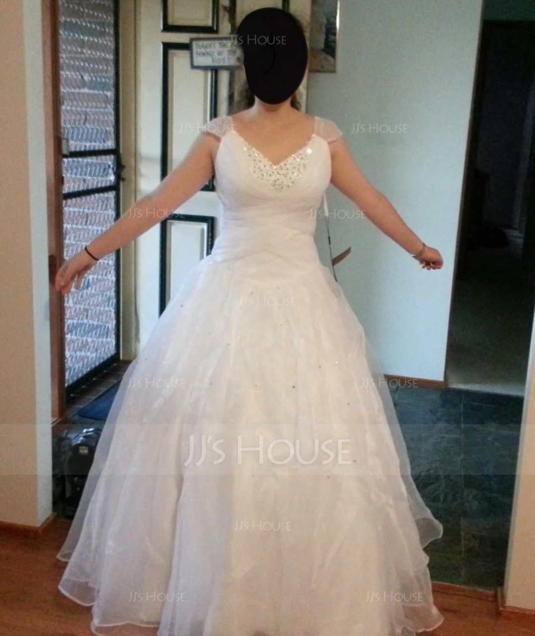 Ball-Gown V-neck Floor-Length Organza Quinceanera Dress With Ruffle Beading Sequins (021002897)