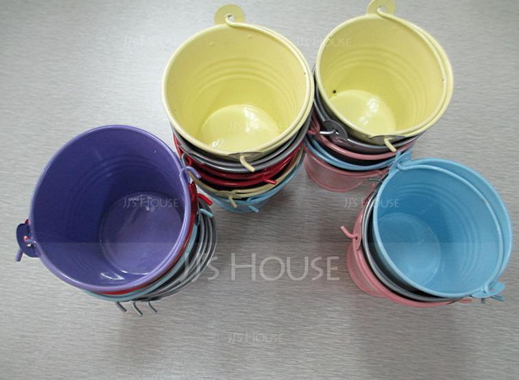 Lovely Cylinder Metal Favor Tins & Pails (Set of 12) (050005515)
